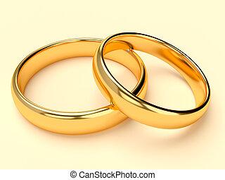 mariage, deux, anneaux, or