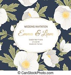 mariage, ellébore, anémone, gabarit, invitation, carte