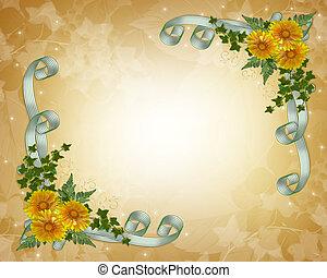 mariage, fleurs, jaune, invitation