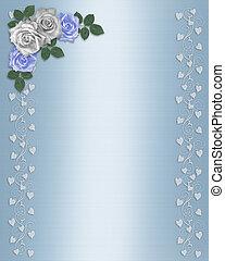 mariage, frontière florale, roses