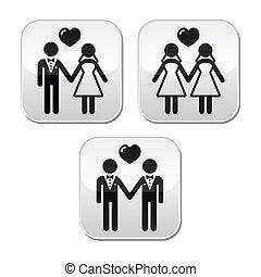 mariage, hetero, gay, mariés