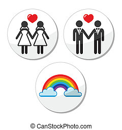 mariage, icône, gay, lesbienne, arc-en-ciel