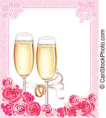 mariage, lunettes champagne
