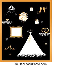 mariage, magasin, robe blanche, et, accessoire