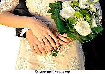 mariage, mains, à, bouquet