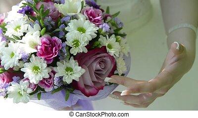 mariage, mains, bouquet, mariée, beau