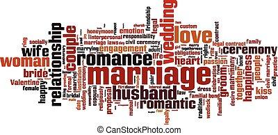 mariage, mot, nuage