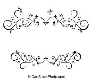 mariage, noir, floral, cadre