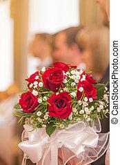 mariage, palefrenier, mariée, bouquet