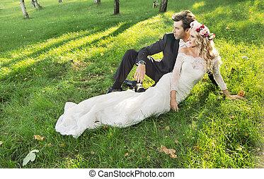 mariage, photo, décontracté, art, couple