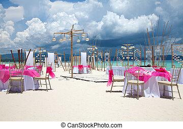 mariage plage, installation