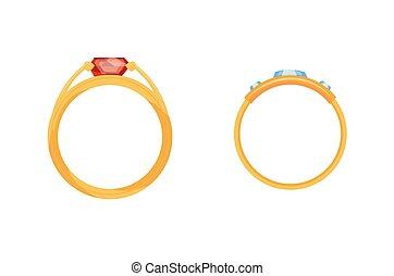 mariage, publicité, doré, bijouterie, diamants, illustration, ring., accessoires, isolé, ensemble, anneaux, arrière-plan., bijou, vecteur, magasin, or, blanc, bijoux