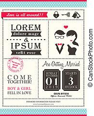 mariage, retro, gabarit, invitation, branché, carte