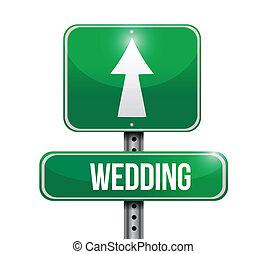 mariage, route, illustration, signe