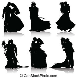 mariage, silhouettes