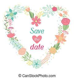 mariage, stylisé, flowers., joli, invitation, carte