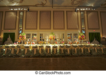 mariage, tête, table