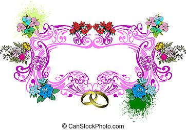 mariage, valentineçs jour, carte, ou