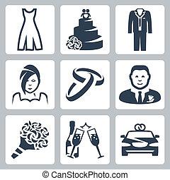 mariage, vecteur, ensemble, isolé, icônes