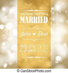 mariage, vecteur, invitation