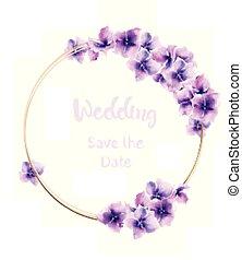 mariage, watercolor., vecteur, decors, couronne, floral, lis...