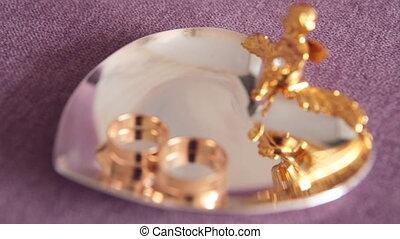 mariages, anneaux, dans, closeup