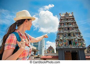 mariamman, femme, voyage, sri, singapour, asie, temple, heureux