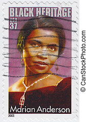 :, marian, アメリカ, african-american, 切手, コントラルト, -, アンダーソン, ...