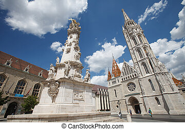 Marian and Holy Trinity columns and Church of St. Matthias. Budapest