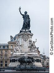 Marianne statue at Republic Square, Paris
