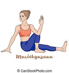 marichis, ioga, pose., silhouette., marichyasana, mulheres
