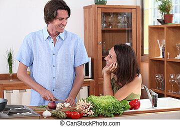 marido, cocina