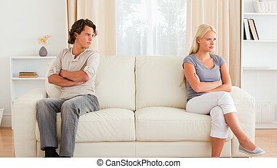 marido, enojado, en, el suyo, esposa
