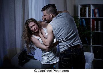 marido, sufocando, esposa