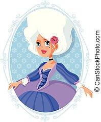 Marie Antoinette Aristocratic Baroque Cartoon Illustration -...