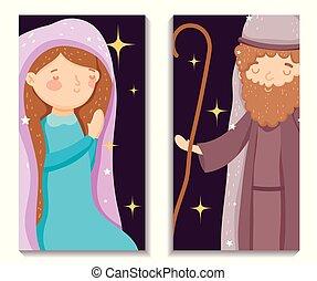 marie, caractères, joyeux noël, joseph, nativité