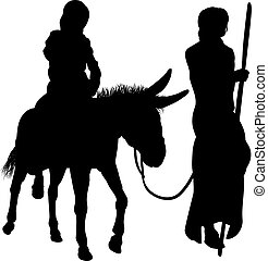 marie, joseph, silhouettes, nativité