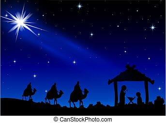 marie, joseph, sous, étoiles, jésus