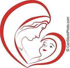 marie, vierge, vecteur, jésus, bébé, dessin