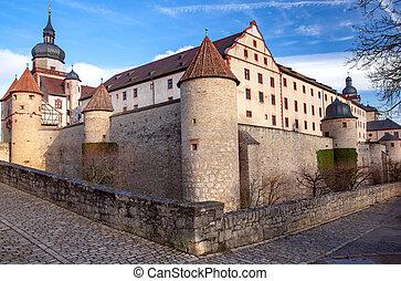 marienburg, aanzicht, fort, hill., wurzburg.