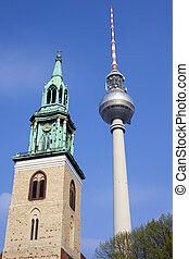 Marienkirche and TV Tower in Berlin