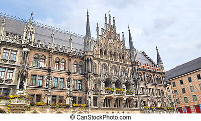 Marienplatz in the center of Munich, Germany