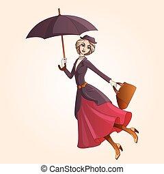 marier, poppins, a, roman, caractère, voler, sur, parapluie