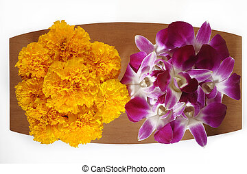 marigold flower and purple orchid flower