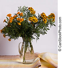 marigold on a table