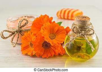 marigold products with a fresh flowers bouquet