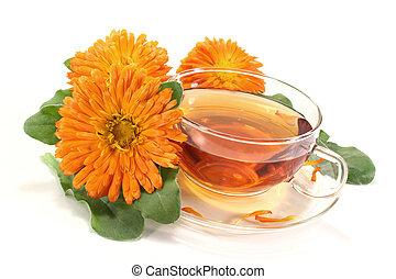 Marigold tea with flowers