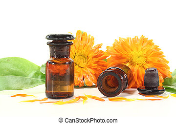 Marigold tincture with flowers