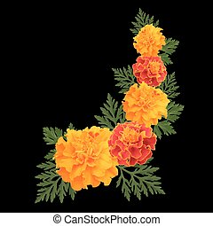 marigolds on black - Decorative background with orange ...
