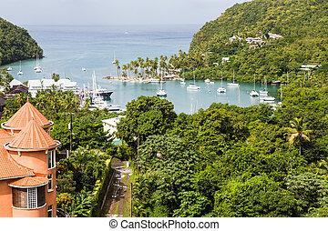 Marigot Bay Beyond Orange Building - View of Marigot Bay...